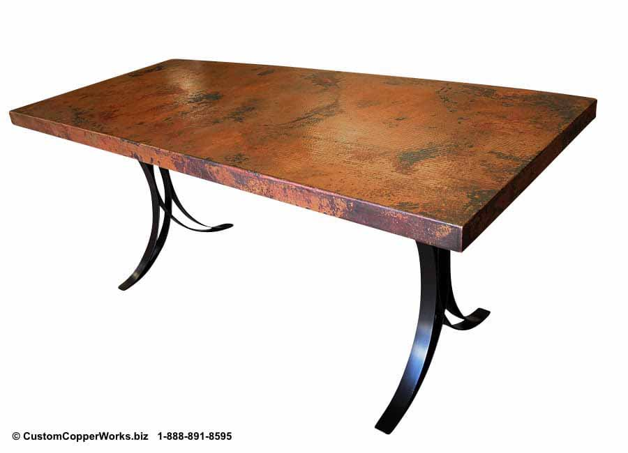 COPPER TOP RECTANGLE DINING TABLE | FLARED FLAT IRON TABLE BASE-2