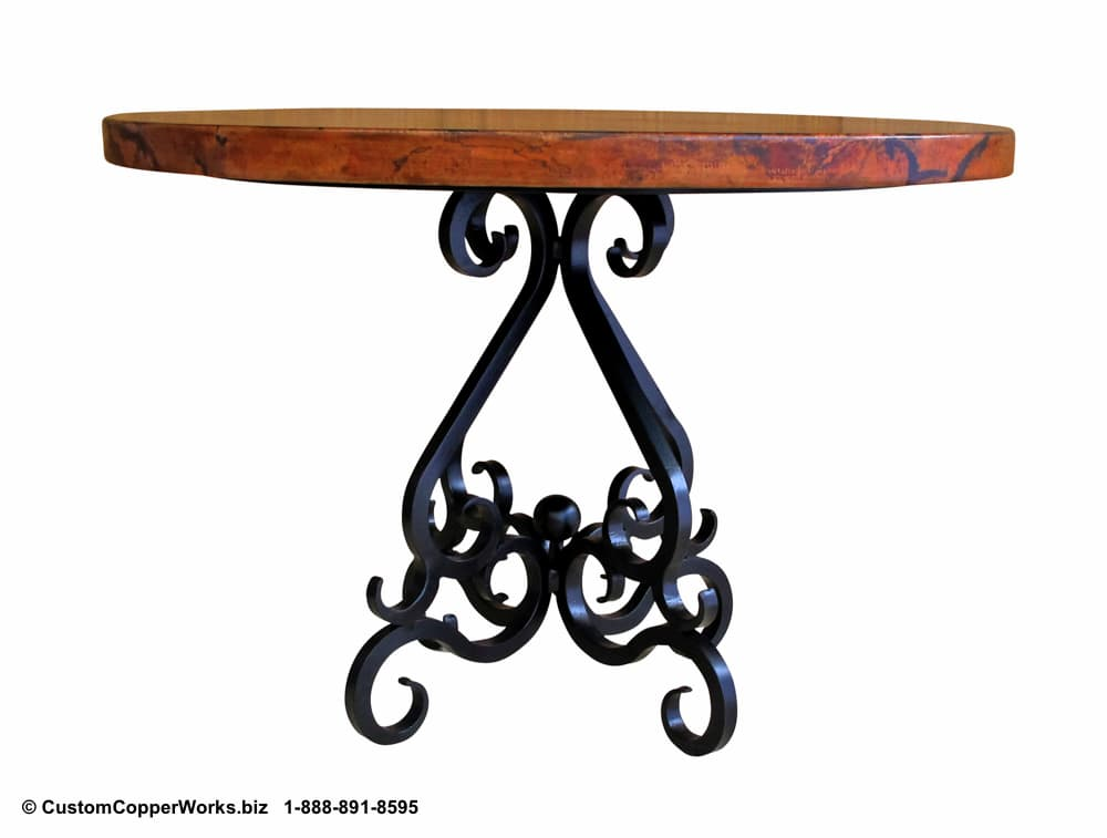 "ROUND, COPPER DINING TABLE: 44"" round copper table top, scrolled, powder coated, forged iron table base-3"