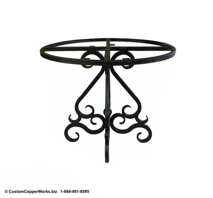 "ROUND, COPPER DINING TABLE: 44"" round copper table top, scrolled, powder coated, forged iron table base-4"