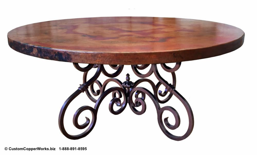 """COPPER DINING TABLE: 66"""" round copper table top mounted on hand-forged, French curl,  Canela  iron table base-2"""