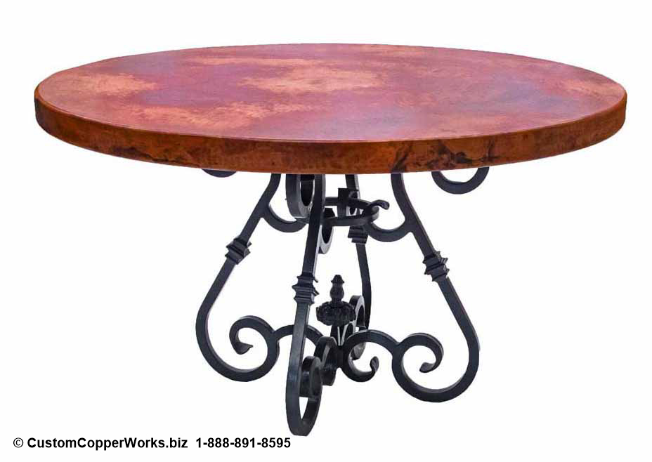 "Round Copper Top Table mounted on Curled, Forged-iron Table Base: 52"" diameter, 2.5 inch side drop."