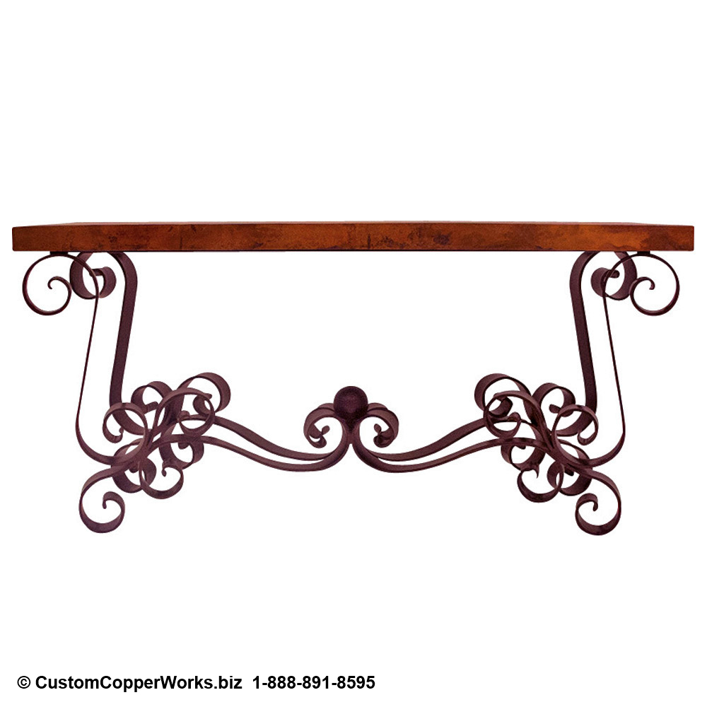 """2. Rectangle, hand-hammered, Copper Table Top; 105"""" x 52"""" x 3"""". Spanish Colonial curled forged-iron table base with matching Copper Table Top console table; end tables; coffee table."""