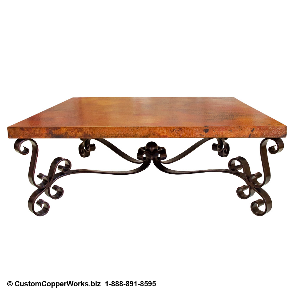"3 .  Rectangle, hand-hammered, Copper Table Top; 105"" x 52"" x 3"". Spanish Colonial curled forged-iron table base with matching Copper Table Top console table; end tables; coffee table."
