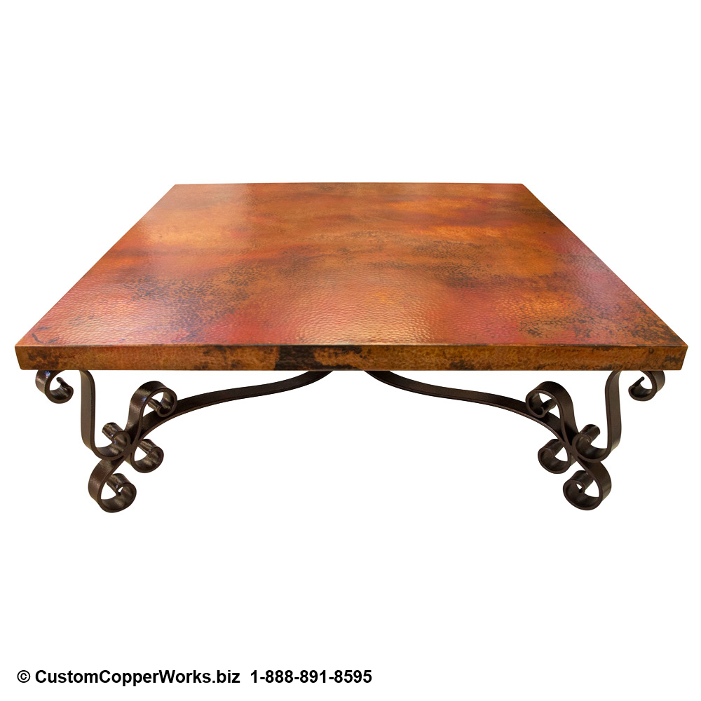 Copper Coffee Table /Forged-iron table base - View 3