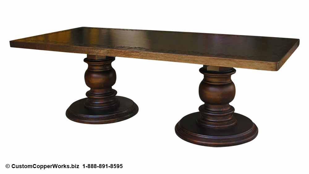 "Hammered copper top table - 106"" x 48"", dark brown copper patina, hand-embossing, double pedestal base."