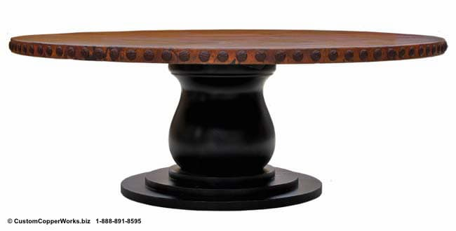"Copper Top Dining Table - 54"" diameter with 2"" side drop mounted on the Corina Wood Single Pedestal Table Base"