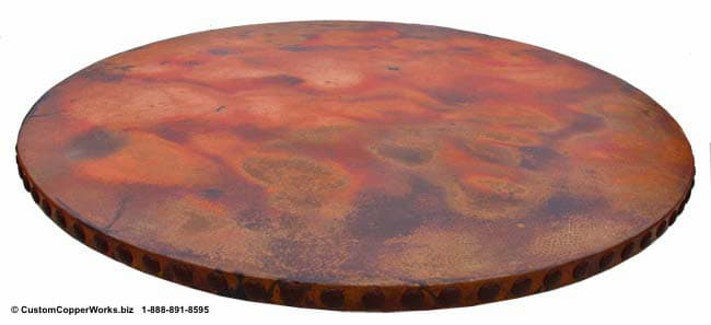"Copper Top Dining Table - 54"" diameter with 2"" side drop mounted on the Corina Wood Single Pedestal Table Base-3"