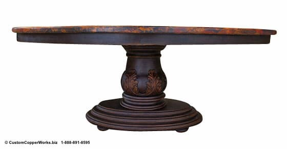 "Copper oval table - 78"" x 48. Single wood pedestal, distressed table base, wood apron, hand-carving accent."