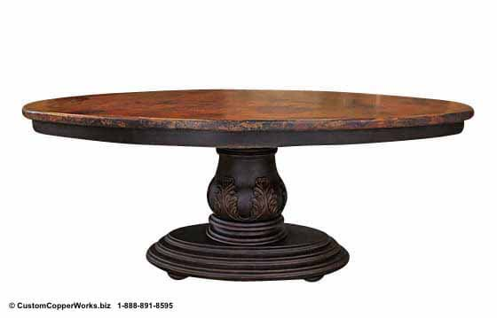 "Copper oval table - 78"" x 48. Single wood pedestal, distressed table base, wood apron, hand-carving accent-1"
