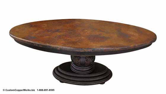 "Copper oval table - 78"" x 48. Single wood pedestal, distressed table base, wood apron, hand-carving accent-2"