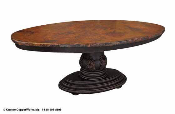 "Copper oval table - 78"" x 48. Single wood pedestal, distressed table base, wood apron, hand-carving accent-3"