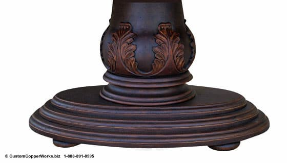 "Copper oval table - 78"" x 48. Single wood pedestal, distressed table base, wood apron, hand-carving accent-6"