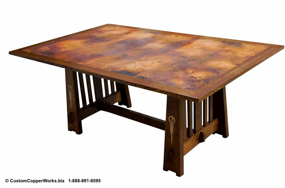 Copper top table, arts and craft wood trestle table base.