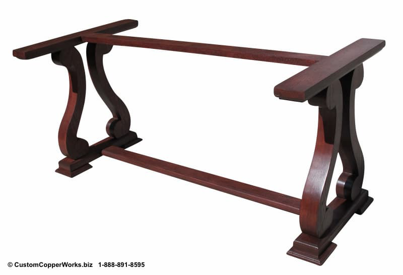 """Copper Top Dining Table - 84"""" x 44"""" x 2.5""""  mounted on the Raquel Oak Trestle Table Base-6"""