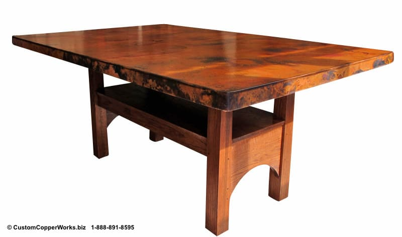 """Copper top rectangle dining table – 84"""" x 54"""" x 36"""" with 2"""" side drop. Rectangle, counter-height, modern contemporary, wood trestle table base."""
