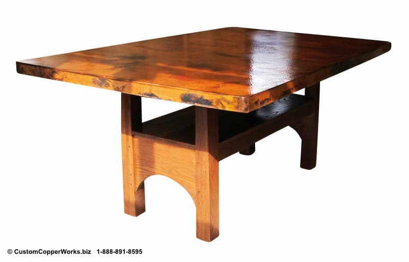 """Copper top rectangle dining table – 84"""" x 54"""" x 36"""" with 2"""" side drop. Rectangle, counter-height, modern contemporary, wood trestle table base-2"""