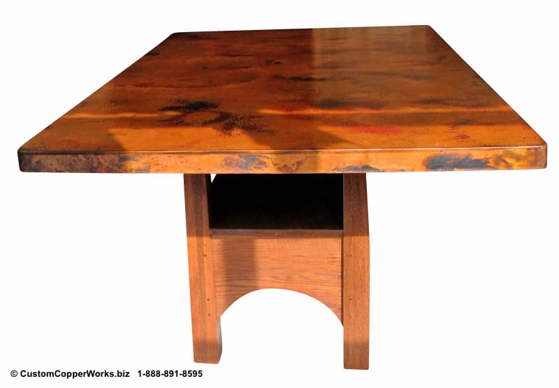 """Copper top rectangle dining table – 84"""" x 54"""" x 36"""" with 2"""" side drop. Rectangle, counter-height, modern contemporary, wood trestle table base-3"""