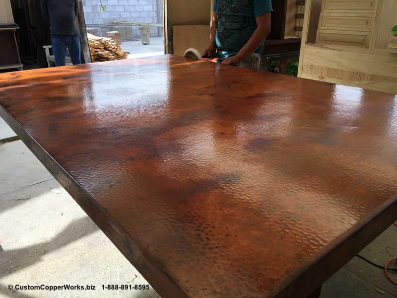 """Copper top rectangle dining table – 84"""" x 54"""" x 36"""" with 2"""" side drop. Rectangle, counter-height, modern contemporary, wood trestle table base-6"""