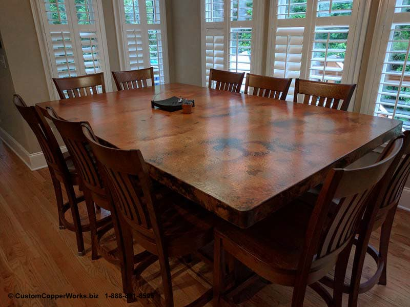 """Copper top rectangle dining table – 84"""" x 54"""" x 36"""" with 2"""" side drop. Rectangle, counter-height, modern contemporary, wood trestle table base-7"""
