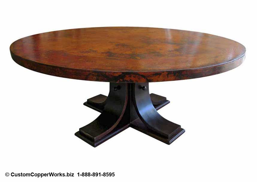 "Copper top round dining table – 72"" diameter with 2.5"" side drop. Oak wood pedestal table base."