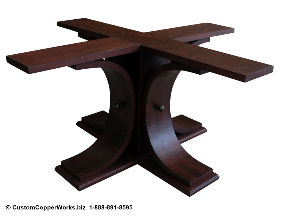"Copper top round dining table – 72"" diameter with 2.5"" side drop. Oak wood pedestal table base-3"