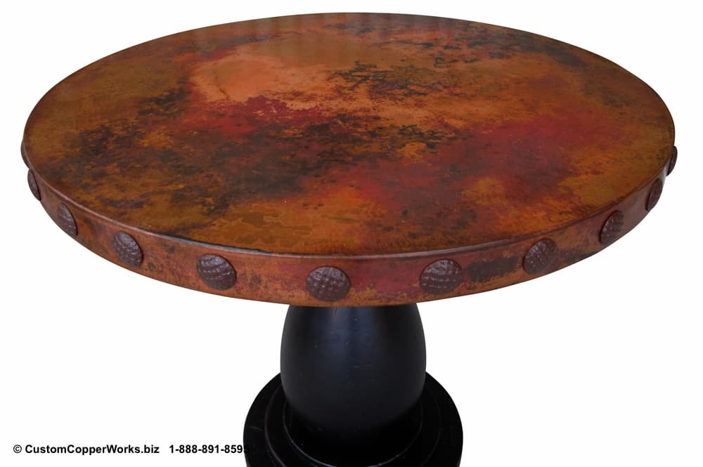 """COPPER DINING TABLE: Round Copper top table 42"""" diameter with decorative concha adornment,mounted on rustic, wood table base-2"""