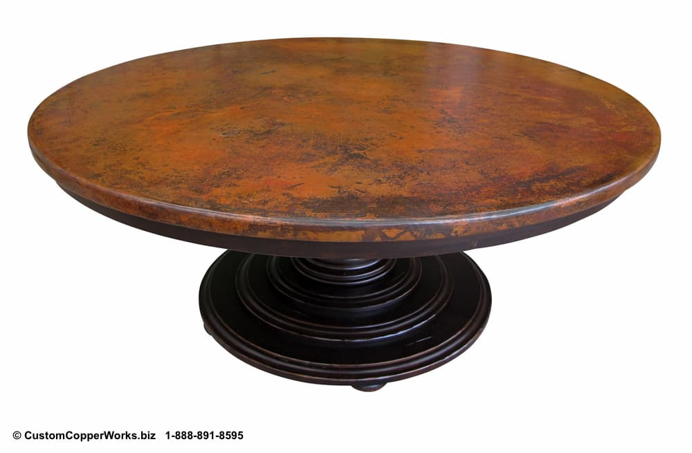 "COPPER TOP DINING TABLE: Hammered, 72"" Round Copper Top Table Overlaid on Wood Side Drop Apron, Single Pedestal Table Base with Hand Carved Design - 3"