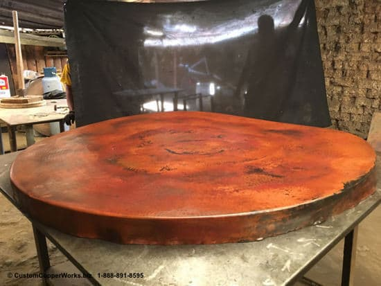 Cruda copper patina submitted for approval before gluing copper to substrate.