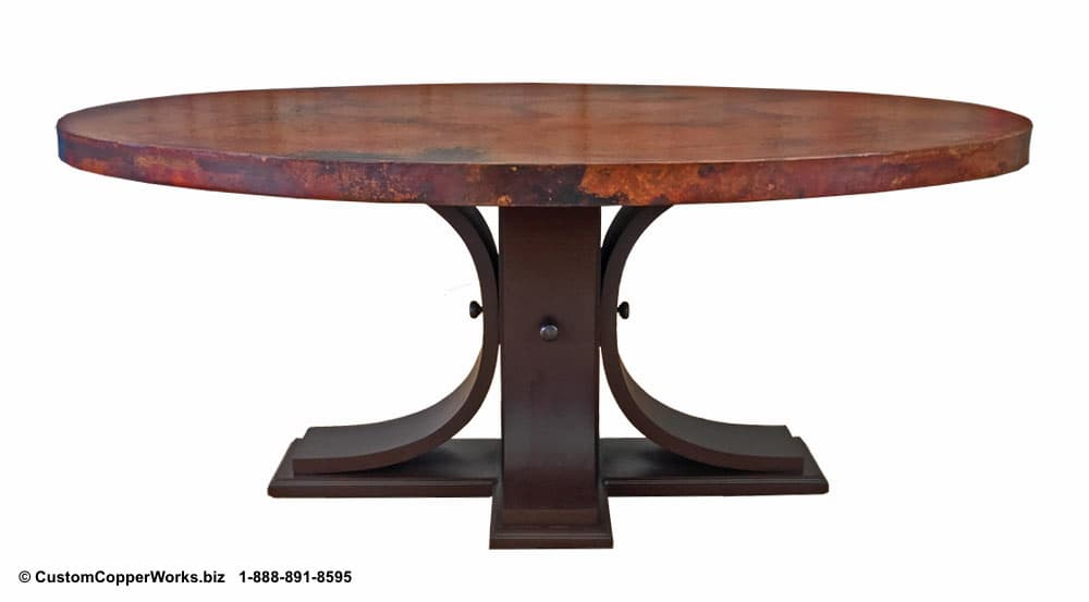"Copper top oval dining table — 72"" x 48"" x 2"" — mounted on the  Carlota  table base."
