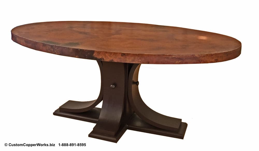 "Copper top oval dining table — 72"" x 48"" x 2"" — mounted on the Carlota table base-3"