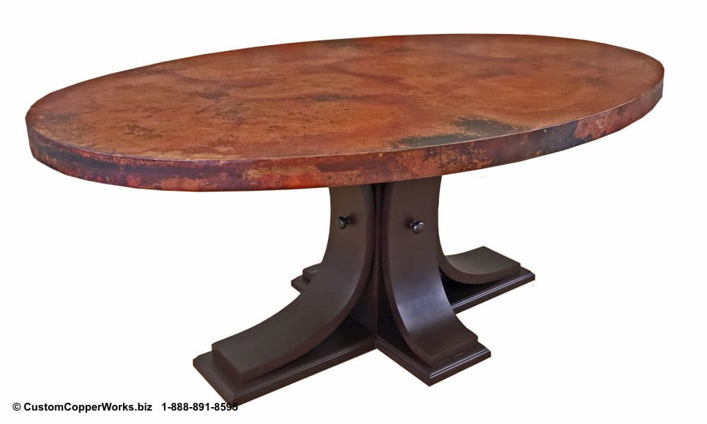 "Copper top oval dining table — 72"" x 48"" x 2"" — mounted on the Carlota table base-2"