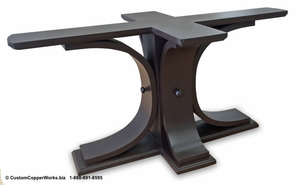 """Copper top oval dining table — 72"""" x 48"""" x 2"""" — mounted on the Carlota table base-5"""