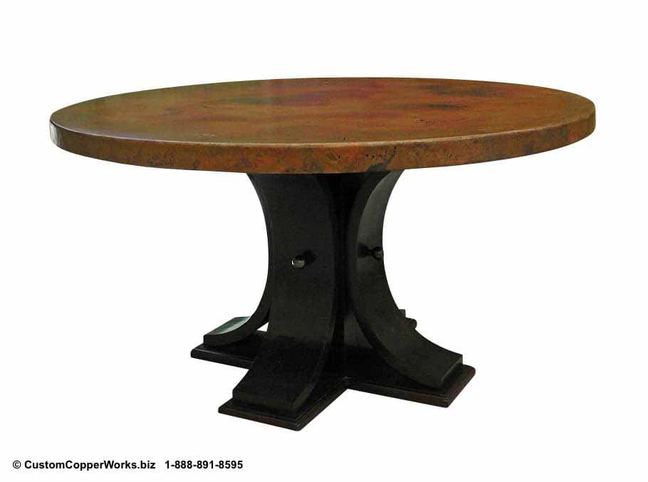 "Copper top round dining table - 56"" diameter with 25"" side drop, mounted on the Carlota Oak, pedestal table base."