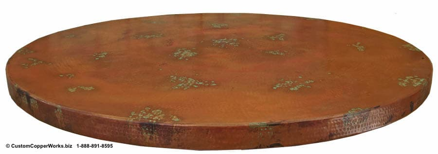 """Copper top, round dining table – 70"""" diameter with 2.5"""" side drop; verdigris accents and decorative conchas, mounted on Alder, single pedestal table base - 3"""