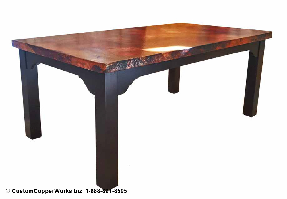 """FARMHOUSE, COPPER TOP DINING TABLE: Rectangle Copper Top Table — 72″L x 42″W x 2H"""" with 2″ side drop — mounted on Farmhouse Wood Table Base."""