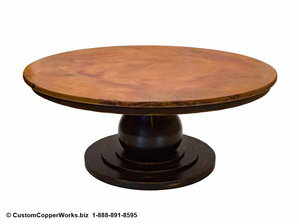 COPPER TOP ROUND DINING TABLE: Copper Table Top – 72 x 72 x 1.5 inches — overlaid on rustic, wood apron pedestal table base-2