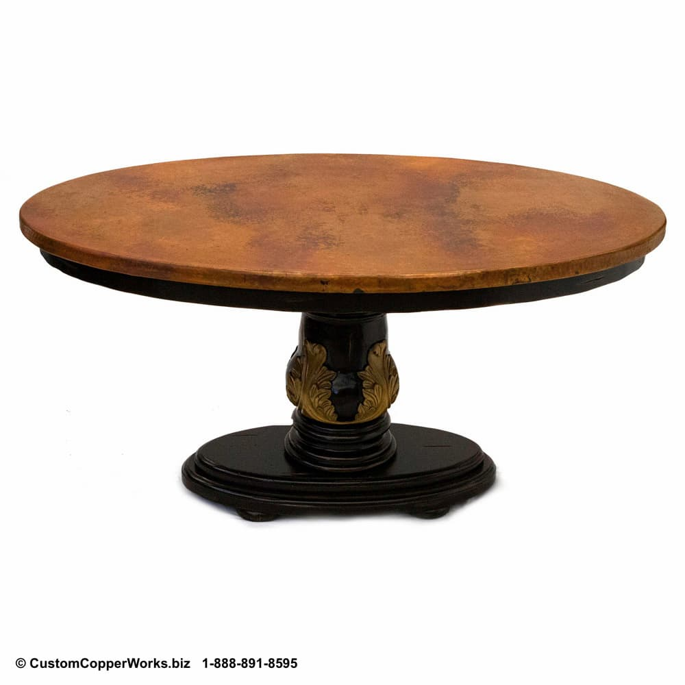 COPPER TOP  OVAL DINING TABLE: Copper Table Top – 60 x 40 x 1.5 inches — nested on the wood pedestal table base with side drop apron-2