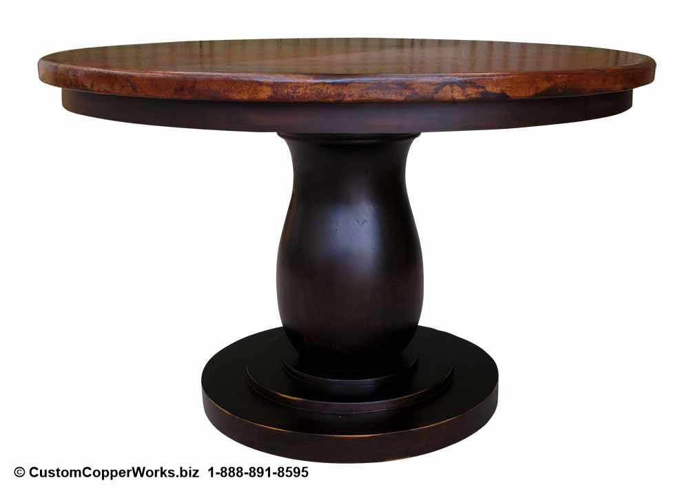 """Copper Top Dining Table - 48"""" x 48"""" x 1.5"""" mounted on the  Anna  Single Pedestal Table Base with Attached Wood Apron."""