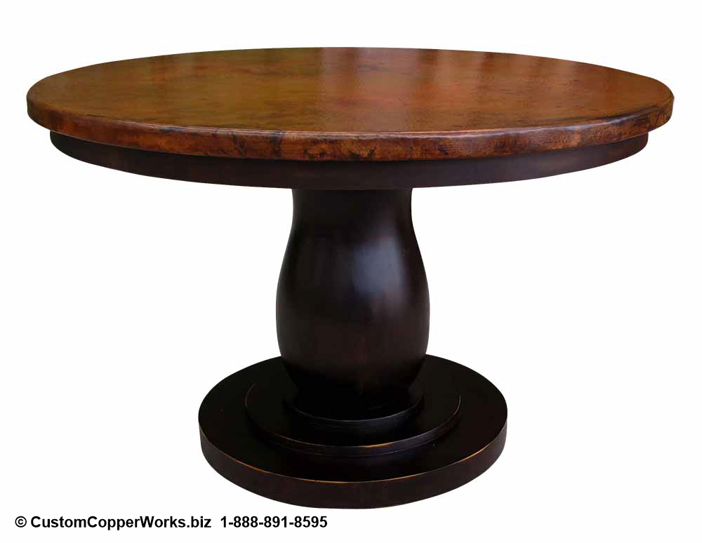 """Copper Top Dining Table - 48"""" x 48"""" x 1.5"""" mounted on the Anna Single Pedestal Table Base with Attached Wood Apron-2"""
