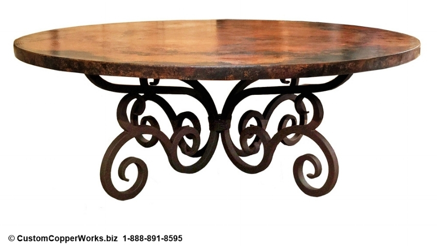 ROUND COPPER TOP DINING TABLE: Hammered, Copper Top Dining Table Mounted on Santa Fe Style, Consuela Hand-forged, Iron Table Base.
