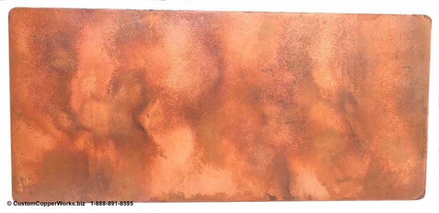 """Copper Table Top - 96"""" x 44"""" x 2"""" Rectangle mounted on the Double Pedestal Natalia Wood Pedestal Table Base 3"""