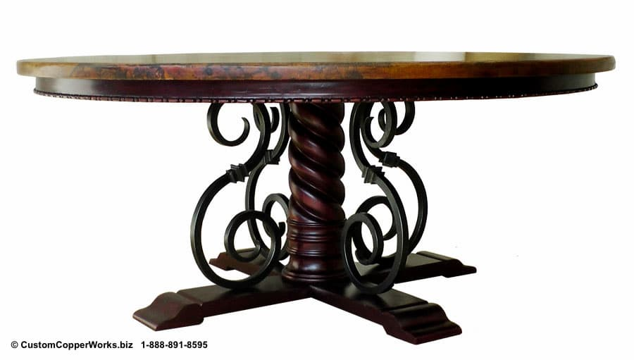 Copper top table mounted on the  Mia  swirled wood and curled forged iron table base with wood apron and engraved detail design.