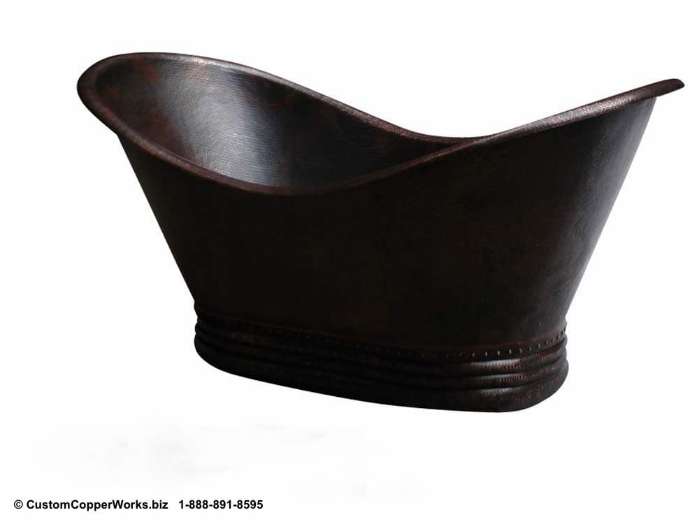 Freestanding Hammered Copper Double Slipper Soaking Tub with Matching Copper Sinks