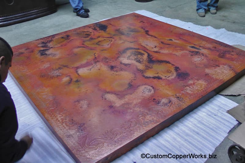 Hammered Copper Table Top with Hand-embossing