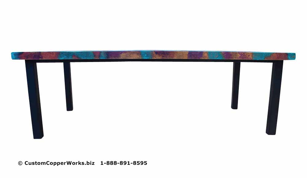 Hand-hammered rectangle copper top dining table mounted on black powder coated, modern, forged-iron table base - 1
