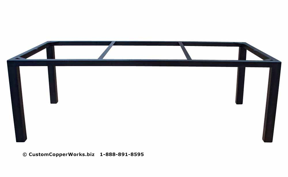 Hand-hammered rectangle copper top dining table mounted on black powder coated, modern, forged-iron table base - 5