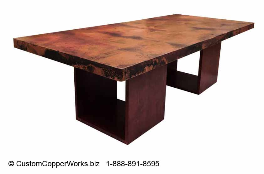 """Copper Top Table, 96"""" x 48"""" x 3"""" Rectangle, Mounted on Wood Double Cube Table Base."""