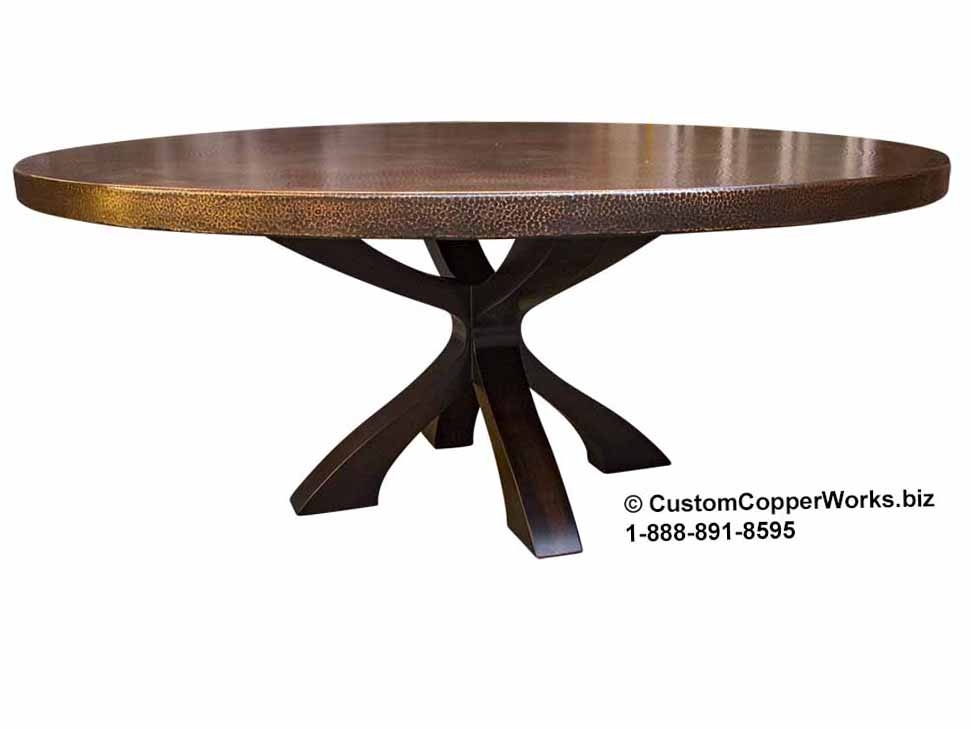 Copper Top Round Table Top Mounted on Wood, Forged-Iron, Pedestal Mia Table Base