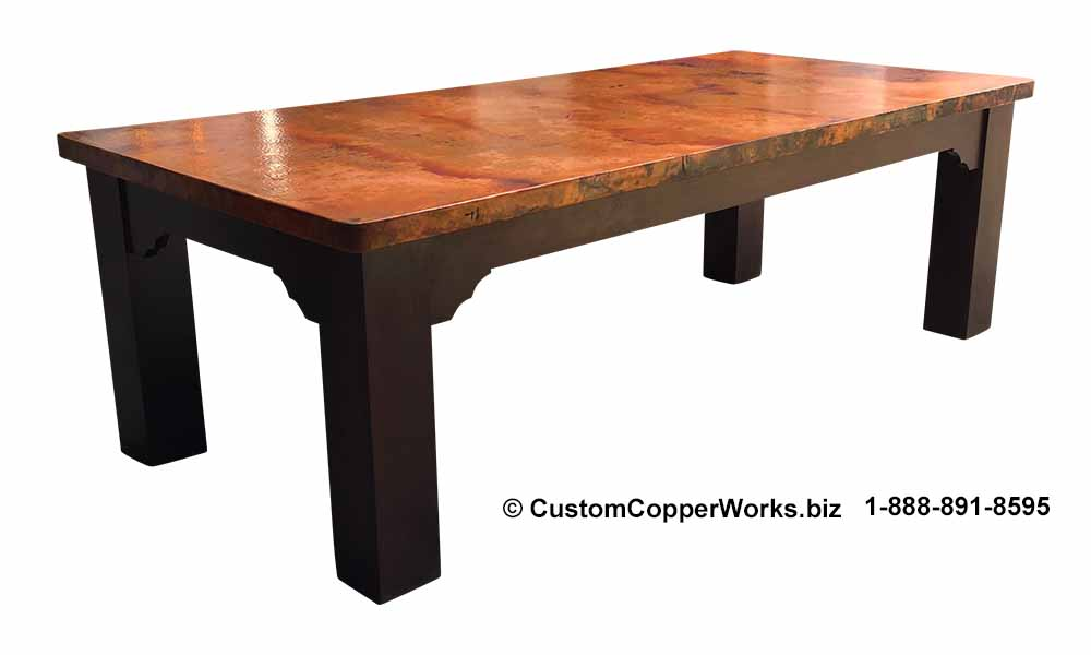 """FARMHOUSE, COPPER TOP DINING TABLE: Rectangle Copper Top Table — 96″L x 44″W x 2H"""" with 2″ side drop, mounted on Farmhouse Wood Table Base"""