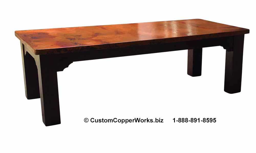 """FARMHOUSE, COPPER TOP DINING TABLE: Rectangle Copper Top Table — 96″L x 44″W x 2H"""" with 2″ side drop — mounted on Farmhouse Wood Table Base."""